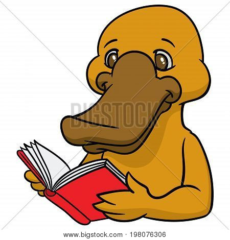 Funny happy cartoon platypus or duckbill with a book  - sign is useful for creating a logo design