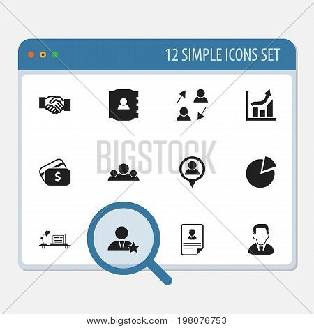 Set Of 12 Editable Business Icons. Includes Symbols Such As Payment, Publish, Contact Book And More