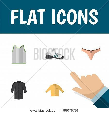 Flat Icon Garment Set Of Lingerie, Banyan, Sneakers And Other Vector Objects