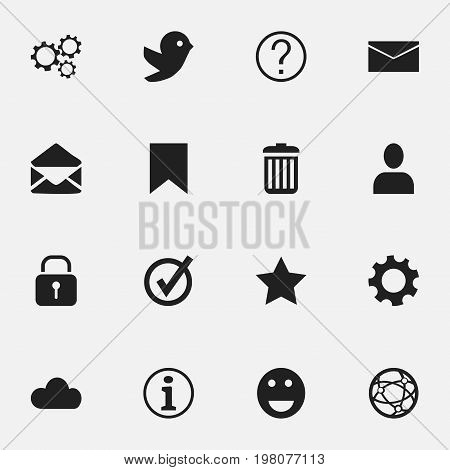 Set Of 16 Editable Network Icons. Includes Symbols Such As Quiz, Network, Sky And More