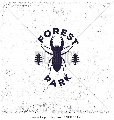 Vintage beetle deer beetle with forest, retro badge or grunge logo for decorating the campsite or for printing on a T-shirt, vector illustration