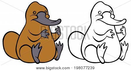 Funny kindly cartoon platypus - You can design cards, part of platypus logo, mascot, corporate character and so on. Lively animal character.