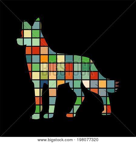 Dog pet color silhouette animal. Vector Illustrator.