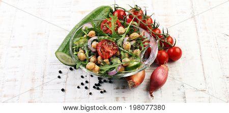 Healthy Homemade Chickpea And Veggies Salad, Arugula, Diet, Vegetarian, Vegan Food, Vitamin Snack