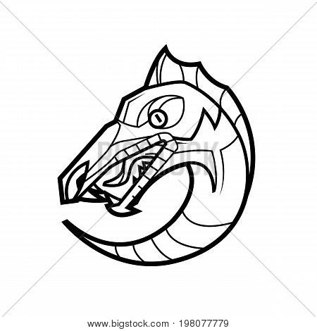 decorative dragon head in a circle mythical creature - suitable for a logo and design