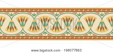 Seamless vector illustration of Egyptian national ornament with lotus flower on beige background.