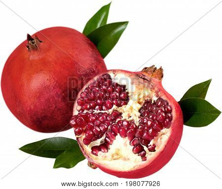 Fresh leaves pomegranates healthy food low calorie natural food organic food