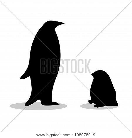 Penguin symbol family loyalty. Animal vector illustration