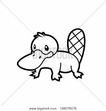 platypus line drawing vector Australian aborigine - sign is useful for creating a logo design design or coloring book