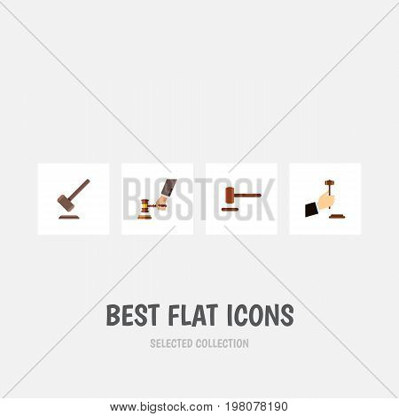 Flat Icon Lawyer Set Of Law, Crime, Defense And Other Vector Objects