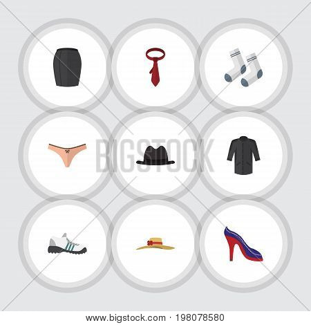 Flat Icon Clothes Set Of Cravat, Uniform, Foot Textile And Other Vector Objects