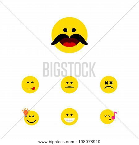 Flat Icon Emoji Set Of Grin, Have An Good Opinion, Delicious Food And Other Vector Objects