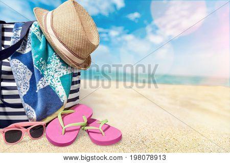 Bag hat seacoast sandy background ball design