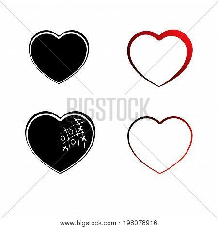 Set Heart Icon, Outline, Silhouette. Symbol Of Love, Romance And Relationships