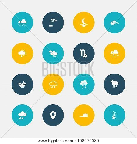 Set Of 16 Editable Air Icons. Includes Symbols Such As Drizzle, Stormy, Pinpoint And More
