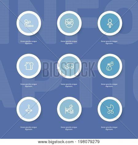 Set Of 9 Editable Relatives Outline Icons. Includes Symbols Such As Brings, Car, Gyroscope And More