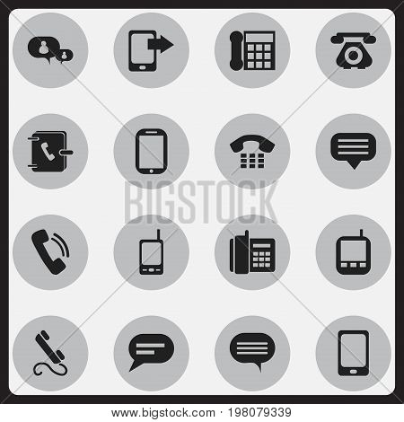 Set Of 16 Editable Device Icons. Includes Symbols Such As Radio Talkie, Share Display, Forum And More