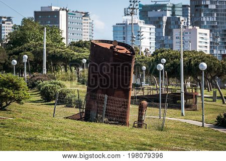 Ship exhaust pipe in park of Barcelona, Spain