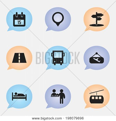 Set Of 9 Editable Travel Icons. Includes Symbols Such As Registration, Bed, Path And More