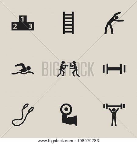 Set Of 9 Editable Sport Icons. Includes Symbols Such As Exercise, Heft, Fight And More