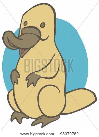 Funny cute cartoon platypus - You can design cards, part of platypus logo, mascot, corporate character and so on. Lively animal character.
