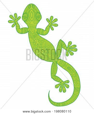 Vector drawing of a lizard gecko with ethnic patterns - image lizard as a tattoo.