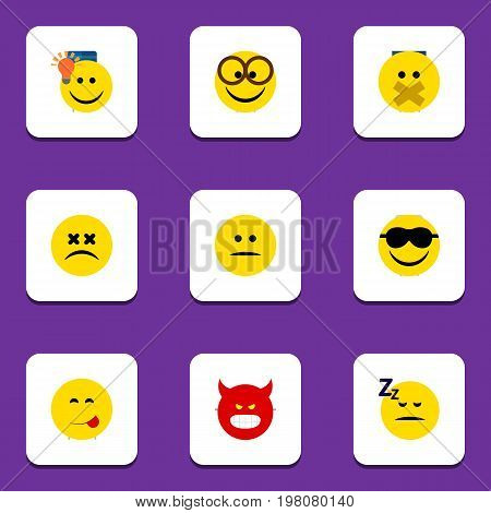 Flat Icon Emoji Set Of Happy, Have An Good Opinion, Cross-Eyed Face And Other Vector Objects
