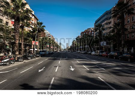 BARCELONA, SPAIN - MAY 2017: Wide multiple line auto road in Barcelona town.
