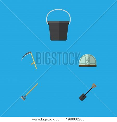 Flat Icon Garden Set Of Tool, Hothouse, Pail And Other Vector Objects