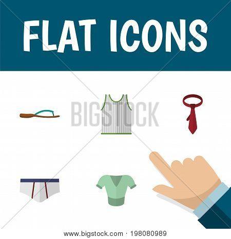 Flat Icon Garment Set Of Cravat, Underclothes, Beach Sandal Vector Objects