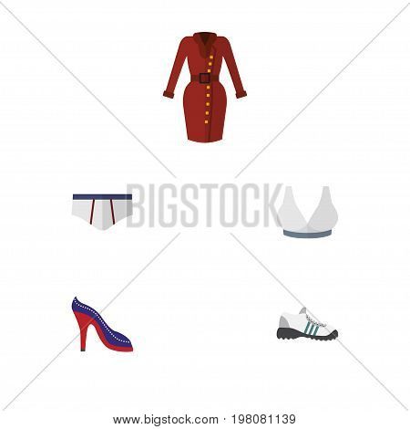 Flat Icon Garment Set Of Sneakers, Underclothes, Clothes And Other Vector Objects