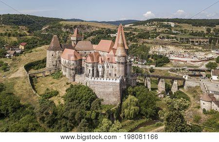 Gothic Renaissance Corvin castle in Hunedoara, Romania