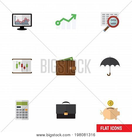 Flat Icon Gain Set Of Scan, Diagram, Portfolio And Other Vector Objects