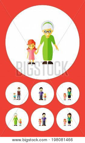 Flat Icon People Set Of Grandchild, Father, Daugther Vector Objects
