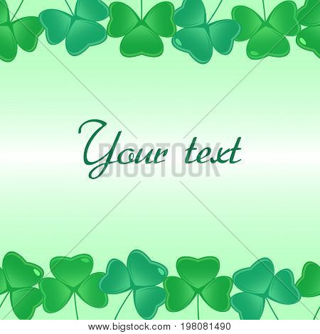 Seamless pattern with shamrock leaves for footer and banner, vector background