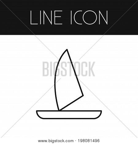 Yacht Vector Element Can Be Used For Boat, Yacht, Vessel Design Concept.  Isolated Boat Outline.