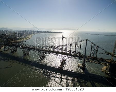 Florianopolis, Brazil - July 17: Hercilio Luz Bridge Currently Under Restoration, In Florianopolis.