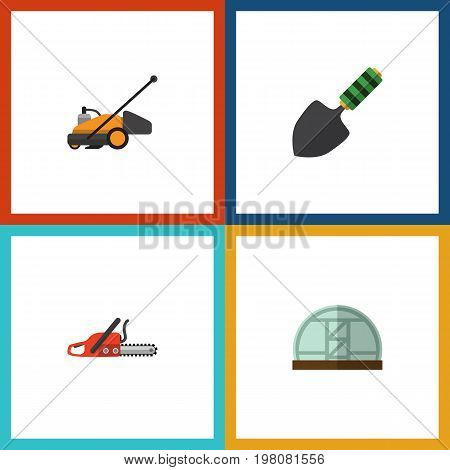 Flat Icon Dacha Set Of Trowel, Hacksaw, Lawn Mower And Other Vector Objects