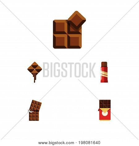 Flat Icon Bitter Set Of Sweet, Wrapper, Cocoa And Other Vector Objects
