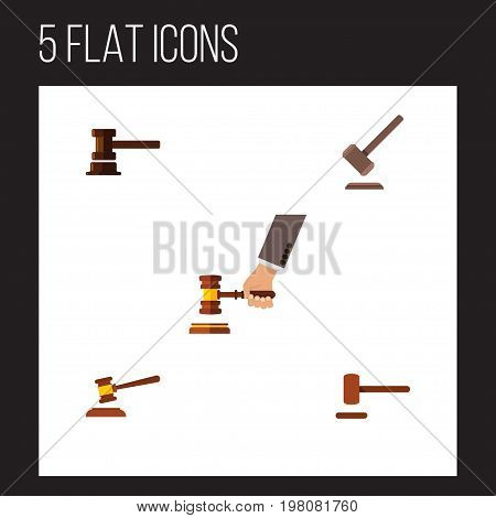 Flat Icon Court Set Of Tribunal, Government Building, Defense And Other Vector Objects