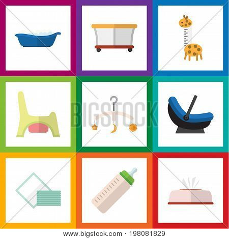 Flat Icon Child Set Of Toy, Napkin, Tissue And Other Vector Objects