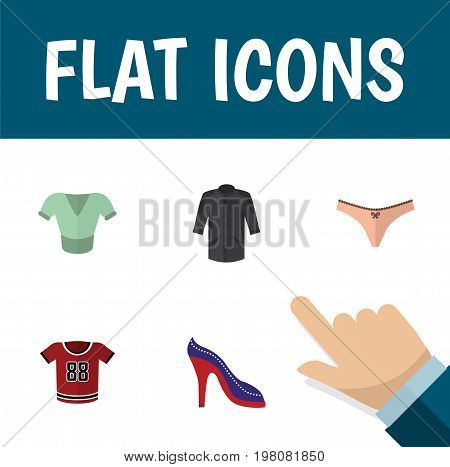 Flat Icon Garment Set Of Uniform, T-Shirt, Lingerie And Other Vector Objects