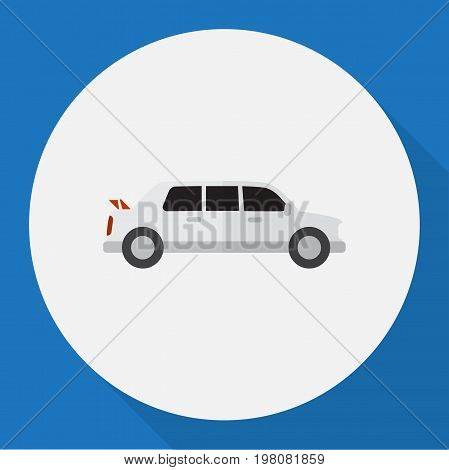 Vector Illustration Of Vehicle Symbol On Limo Flat Icon