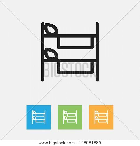 Vector Illustration Of Kin Symbol On Hostel Outline