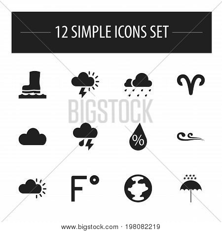 Set Of 12 Editable Air Icons. Includes Symbols Such As Fahrenheit, Breeze, Hail And More
