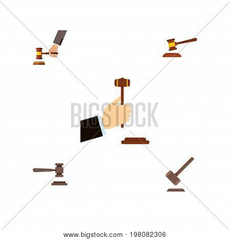 Flat Icon Court Set Of Law, Hammer, Tribunal And Other Vector Objects