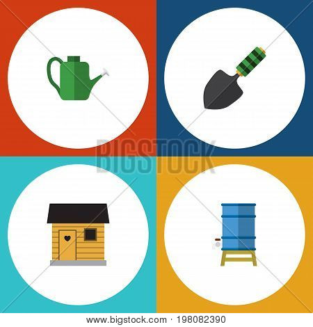 Flat Icon Dacha Set Of Stabling, Bailer, Container And Other Vector Objects
