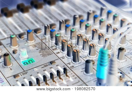 Professional audio equipment for controlling the audio mixer image inversion closeup