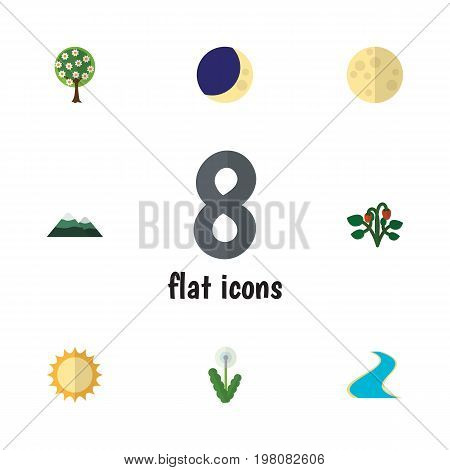 Flat Icon Bio Set Of Half Moon, Solar, Tributary And Other Vector Objects