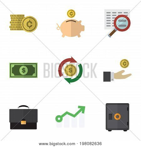 Flat Icon Incoming Set Of Greenback, Interchange, Strongbox And Other Vector Objects